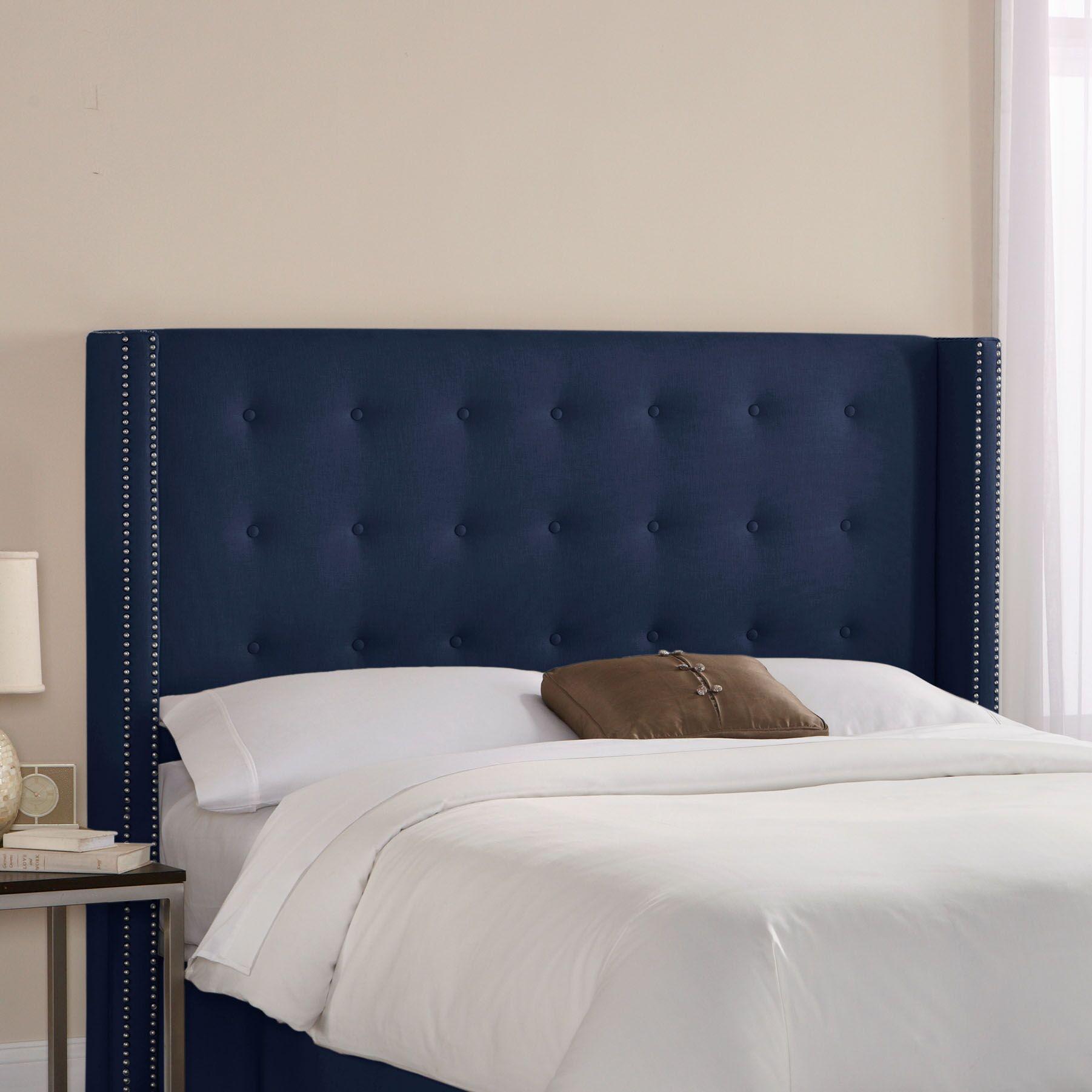 Wingback Upholstered Headboard Size: Full, Upholstery: Blueberry