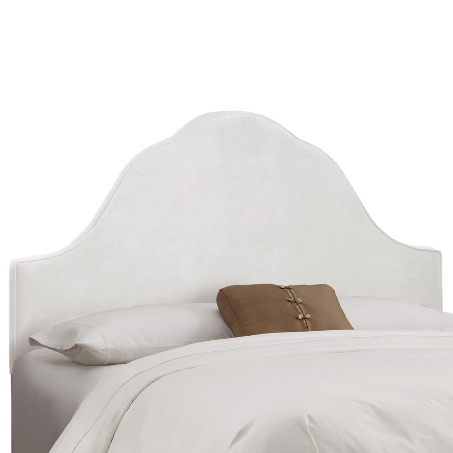 Arched Upholstered Panel Headboard Upholstery: White, Size: King