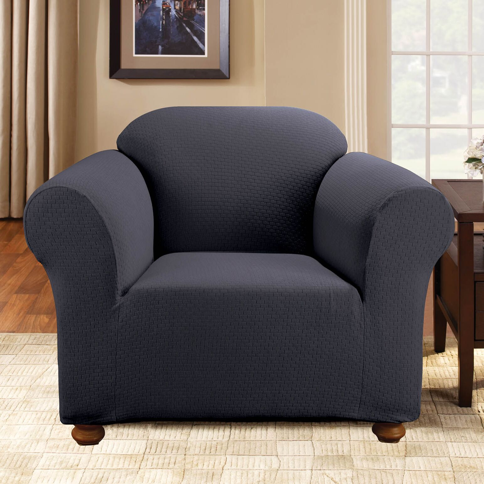 Simple Stretch Subway Box Cushion Armchair Slipcover Upholstery: Storm Blue