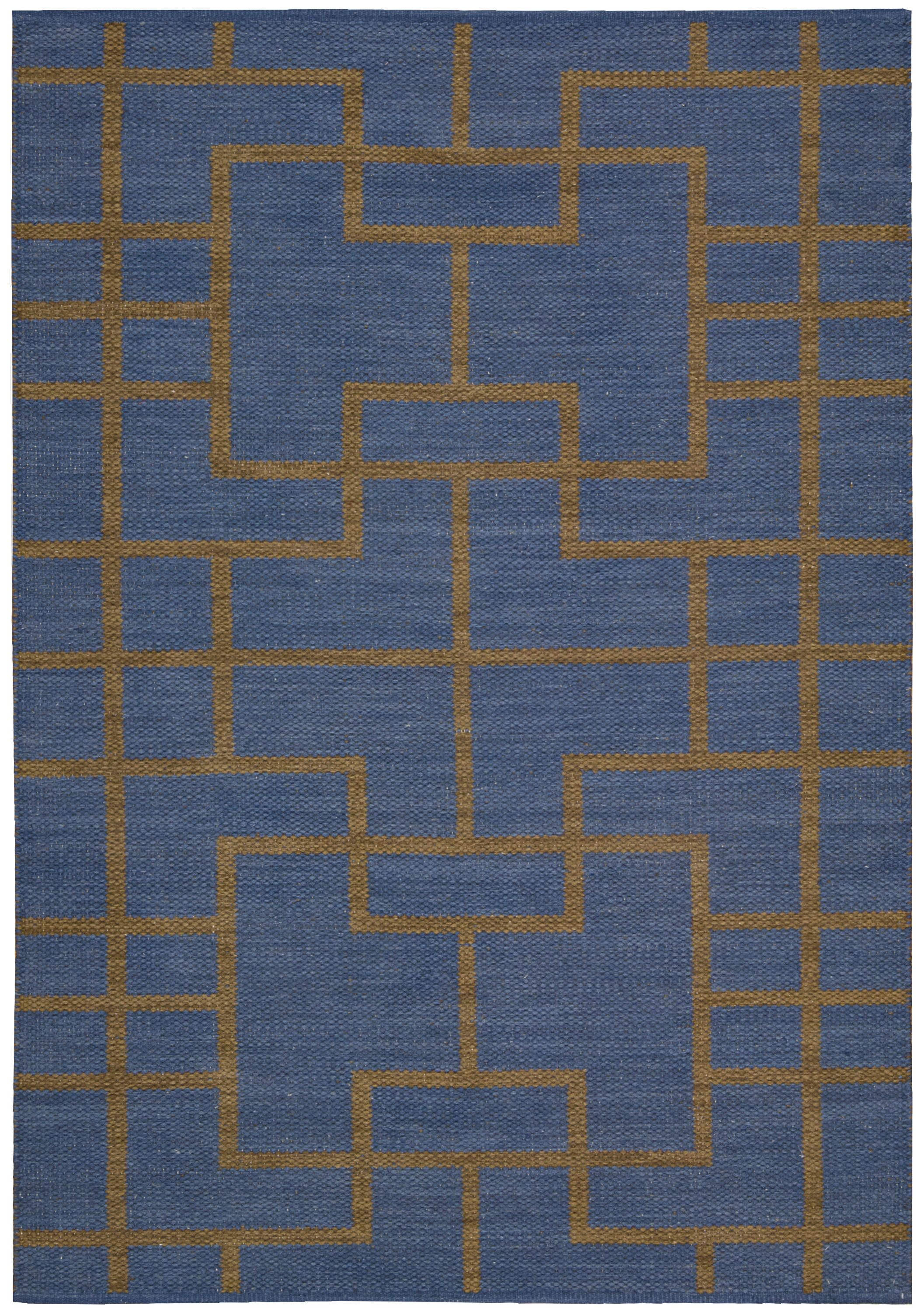 Maze Ocean Navy Area Rug Rug Size: Rectangle 3'6