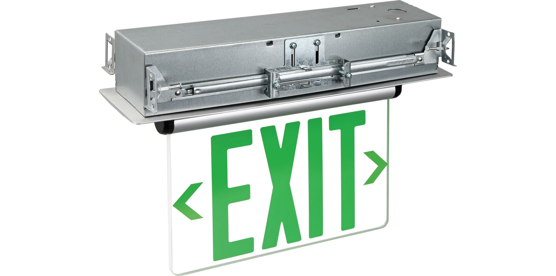 Double Edge Recessed LED Exit Sign Light in Green