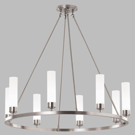 Poehlmann 8-Light Shaded Chandelier Shade Color: Splashed Opal Glass, Finish: Brushed Nickel, Bulb Type: Halogen