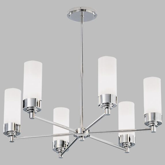 Poehlmann Star Chandelier with Tubing 6-Light Shaded Chandelier Shade Color: Shiny Opal Glass, Finish: Brushed Nickel, Bulb Type: Incandescent