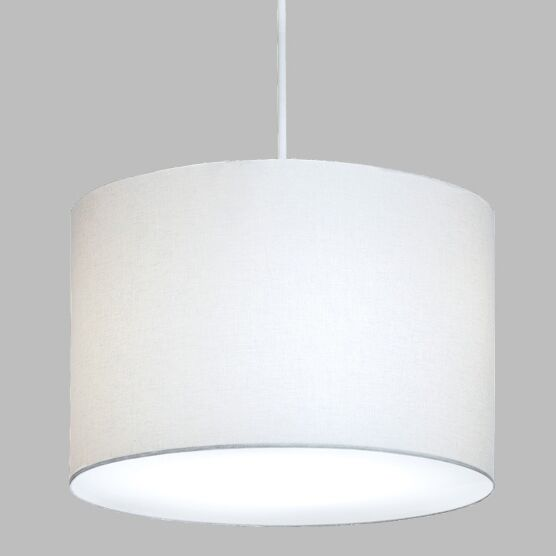 Drum Pendant with White Cord Finish Frame / Bulb Type: Polished Brass / Fluorescent, Shade Color: Cream Shade