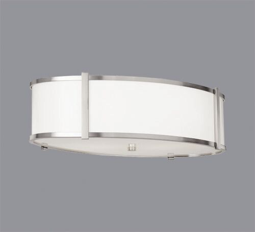 Hatbox Oval Flush Mount Shade Color: Burlap White Material, Finish / Size: Brushed Nickel / 24