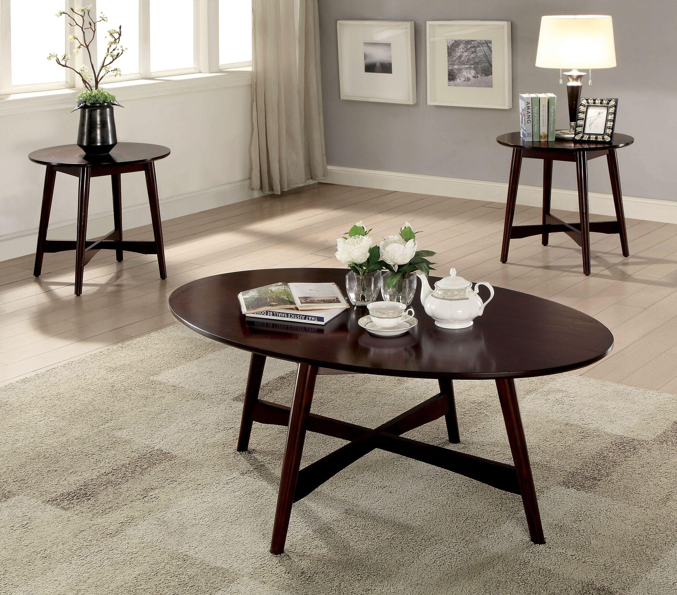 Brashears Mid-Century Modern 3 Piece Coffee Table Set