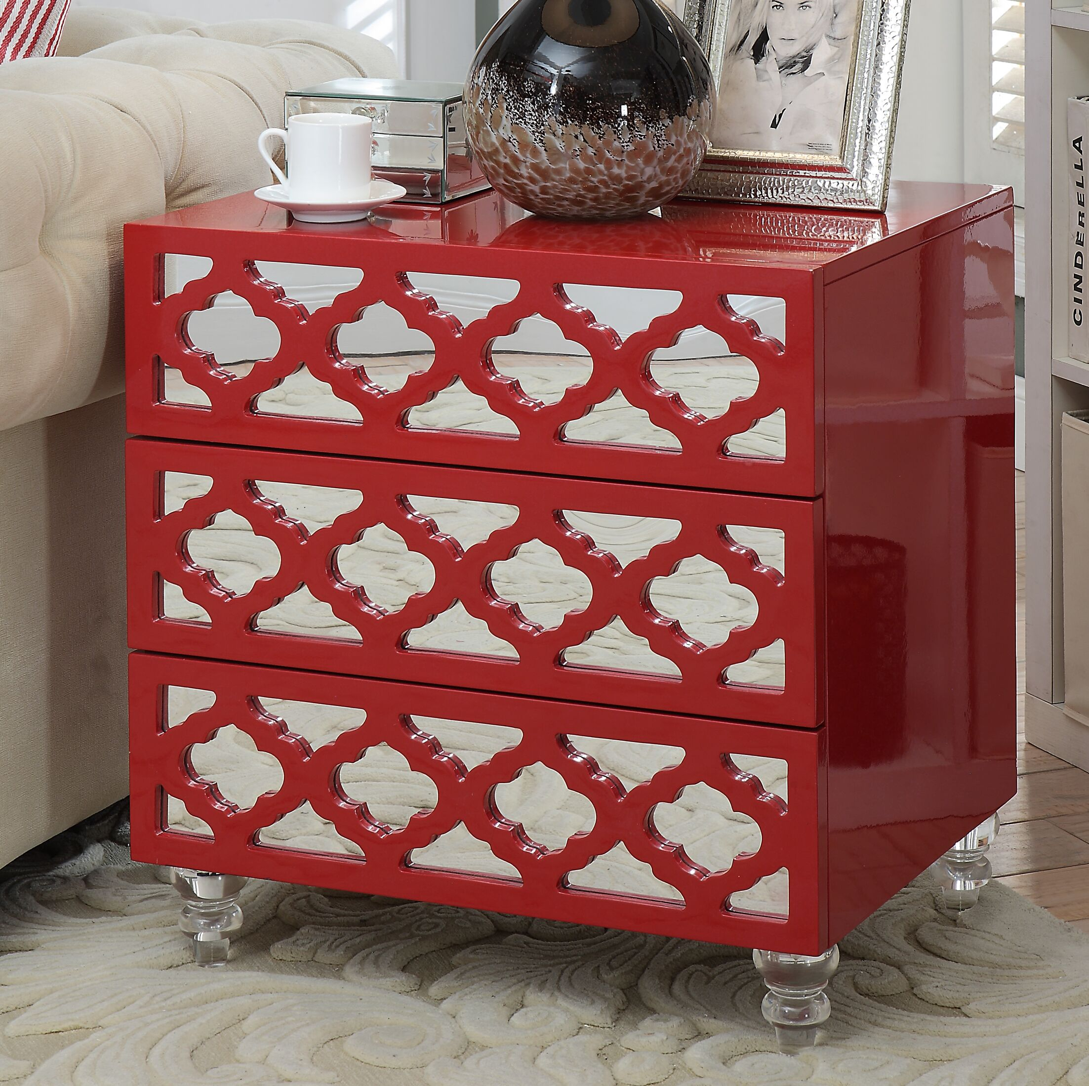 Botelho 3 Drawer Nightstand Color: Red