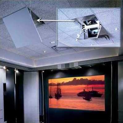 The Revelation Motorized Ceiling-Recessed Projector Mount Style: Model B, Plenum: Included
