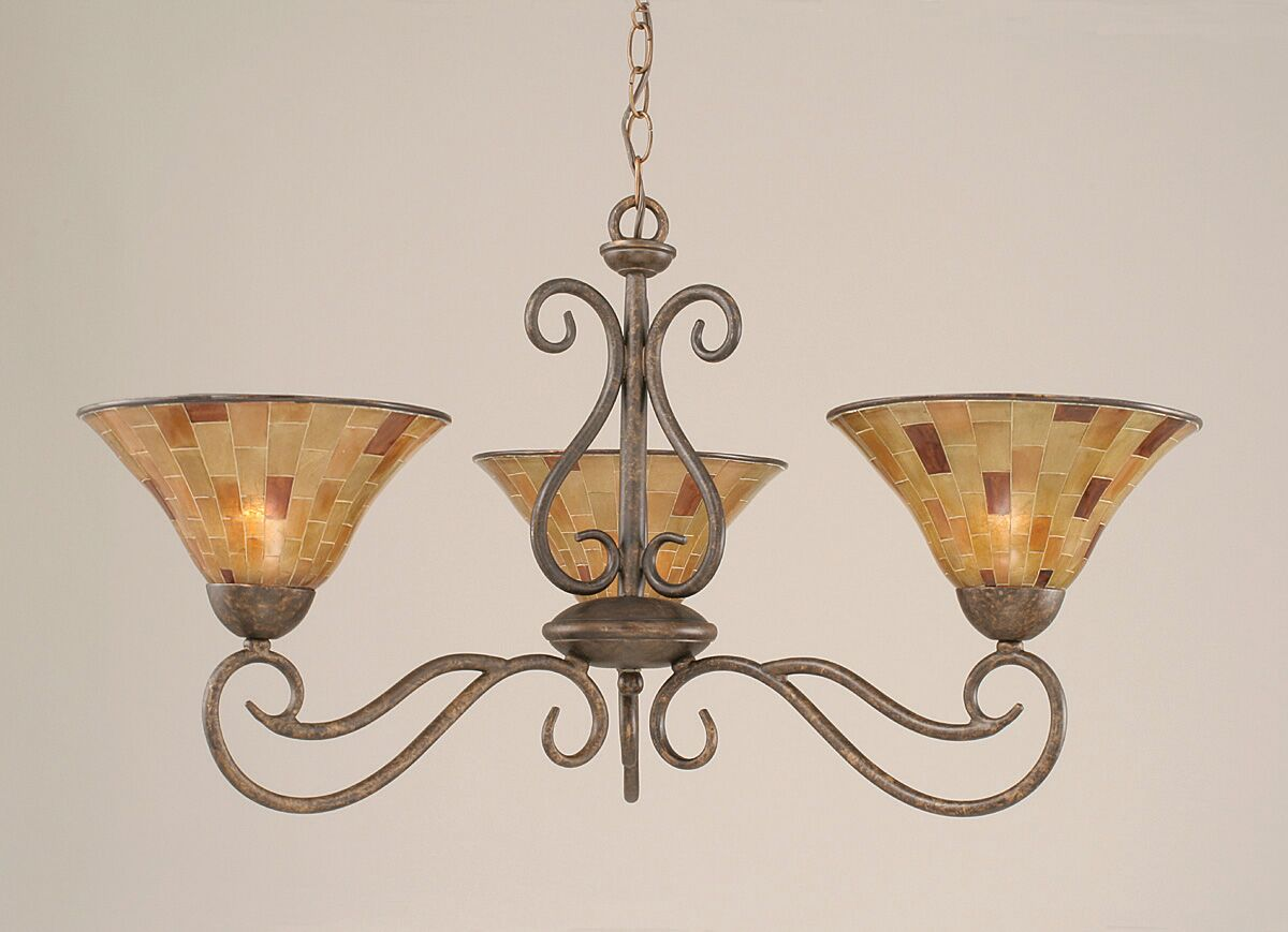 Strong 3-Light Shaded Chandelier