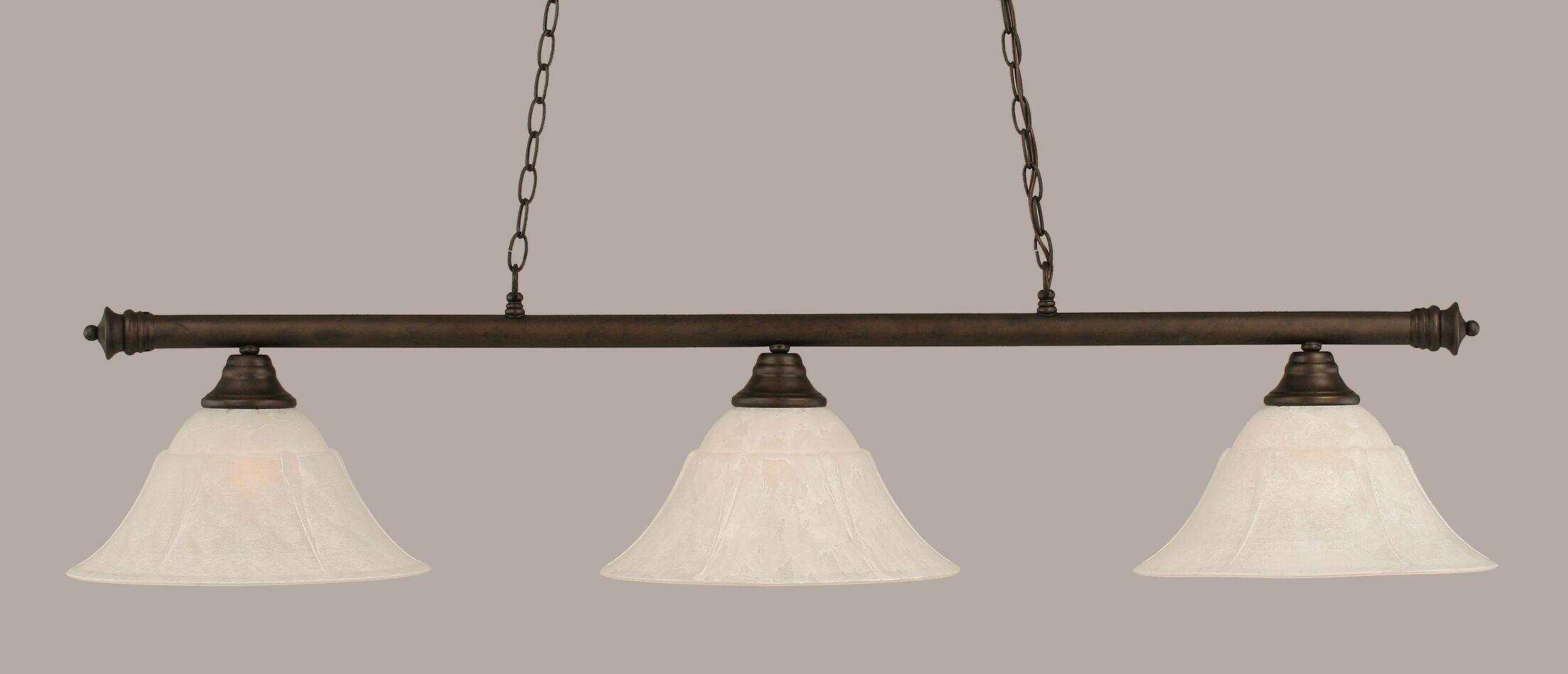Mendez 3-Light Billiard Light Finish: Bronze, Shade Color: White, Size: 12