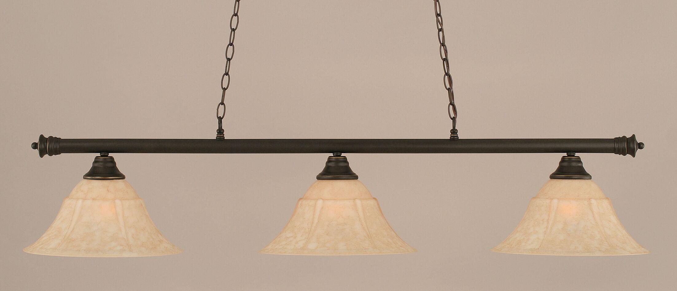 Mendez 3-Light Billiard Light Finish: Dark Granite, Size: 12