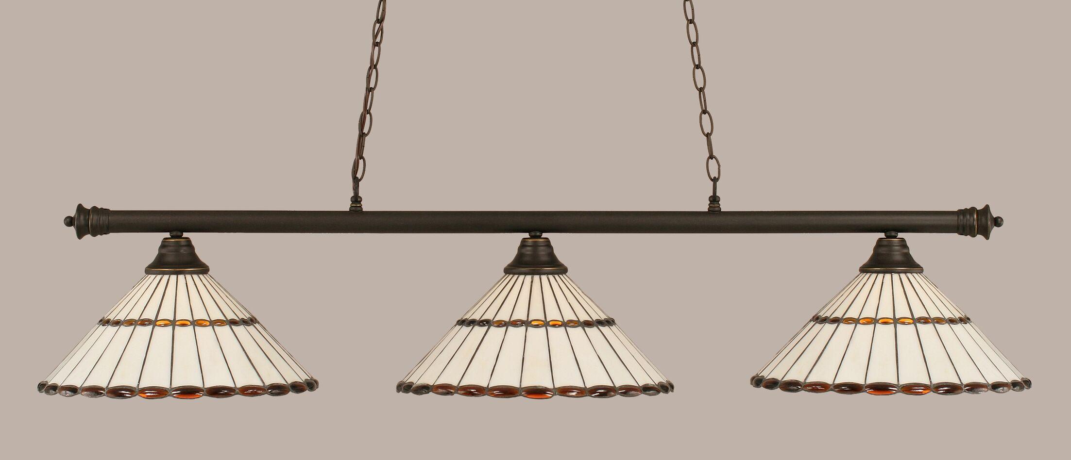 Mendez 3-Light Hardwired Billiard Light Finish: Dark Granite, Shade Color: Honey and Amber Brown