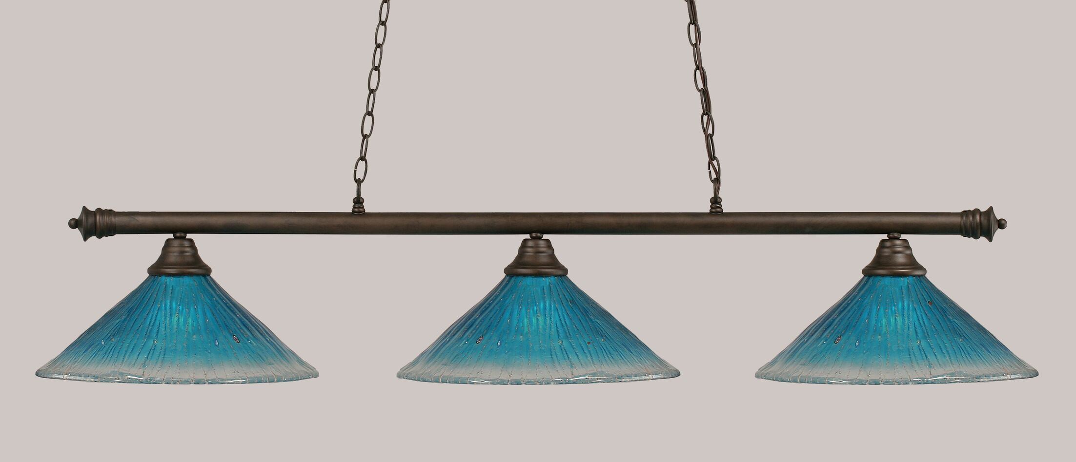 Mendez 3-Light Billiard Light Finish: Bronze, Shade Color: Teal