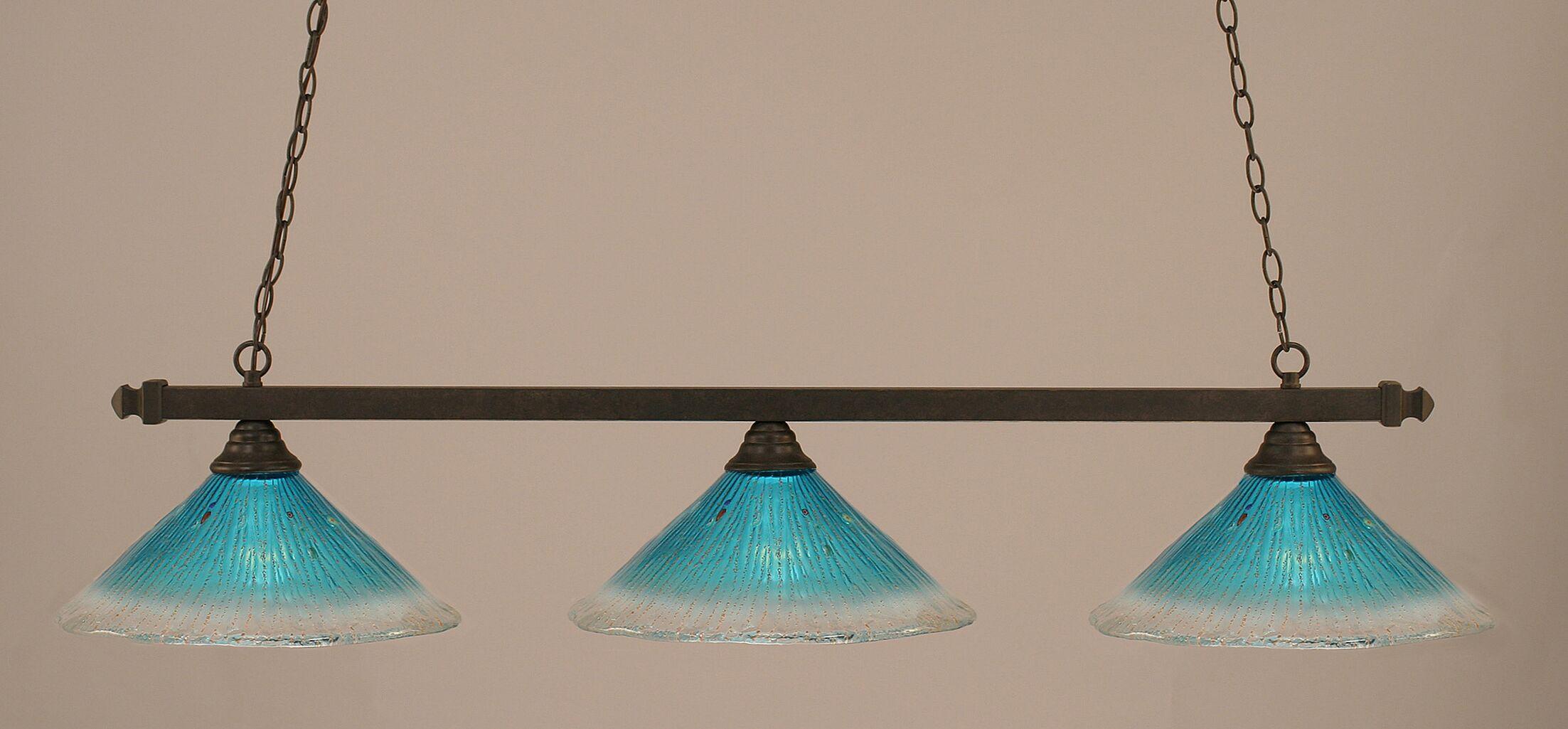 Singletary 3-Light Billiard Light Shade Color: Teal, Finish: Dark Granite