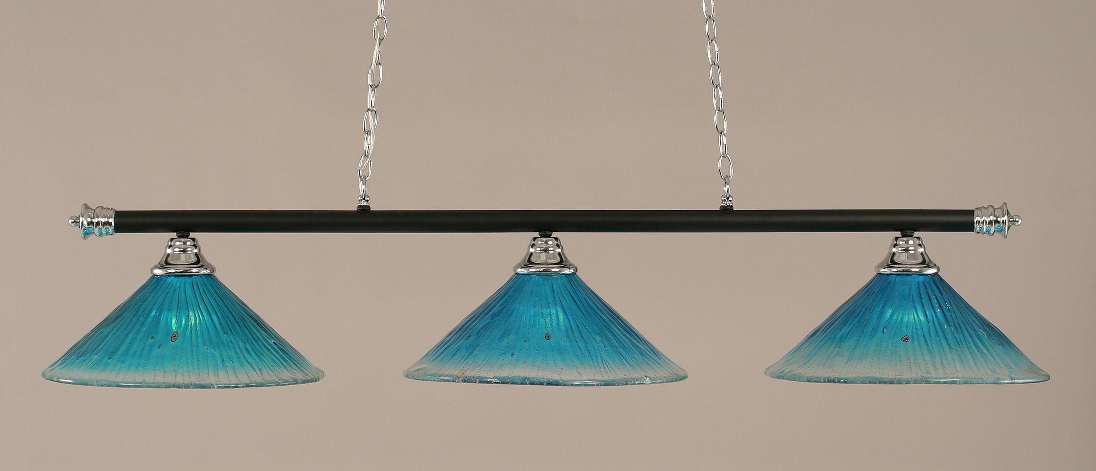 Mendez 3-Light Billiard Light Shade Color: Teal, Finish: Chrome and Matte Black