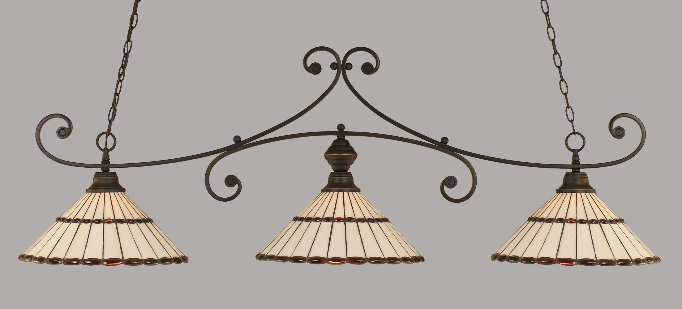 Copeland 3-Light Billiard Light Shade Color: Honey and Amber Brown, Color: Dark Granite