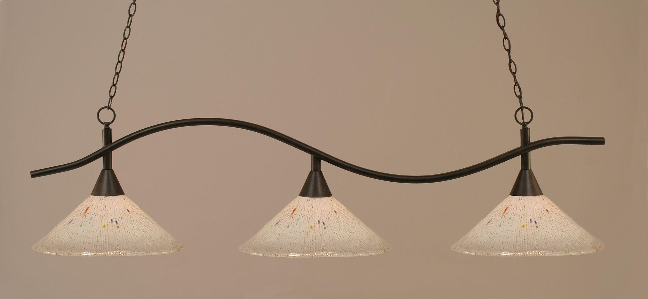 Demi 3-Light Kitchen Island Pendant Shade Color: Frosted, Finish: Dark Granite