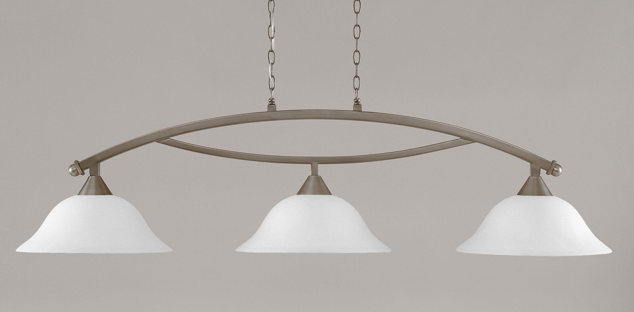 Blankenship 3-Light Billiard Light Color: Brushed Nickel, Shade Color: White