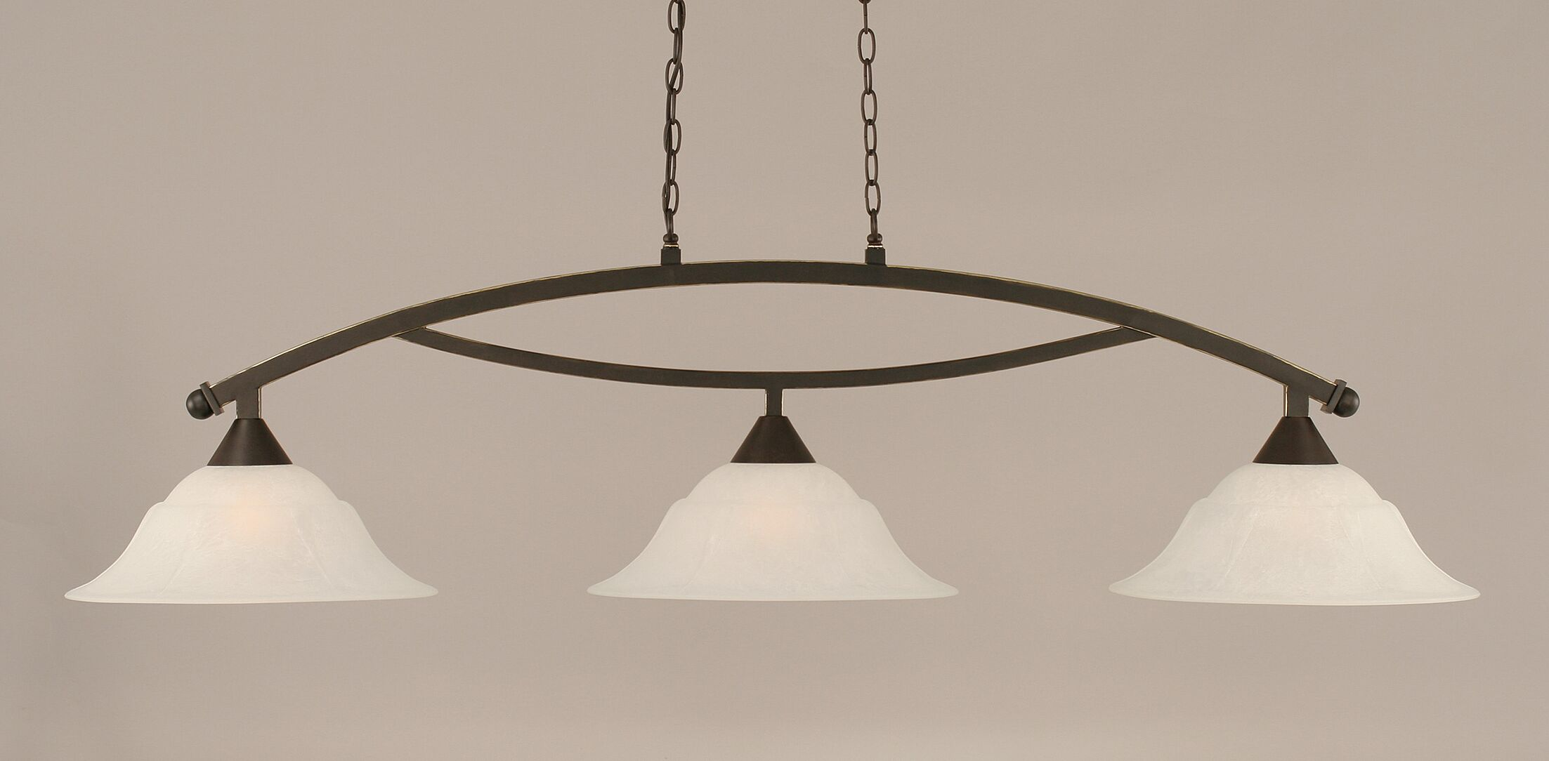 Blankenship 3-Light Kitchen Island Pendant Shade Color: White, Color: Dark Granite
