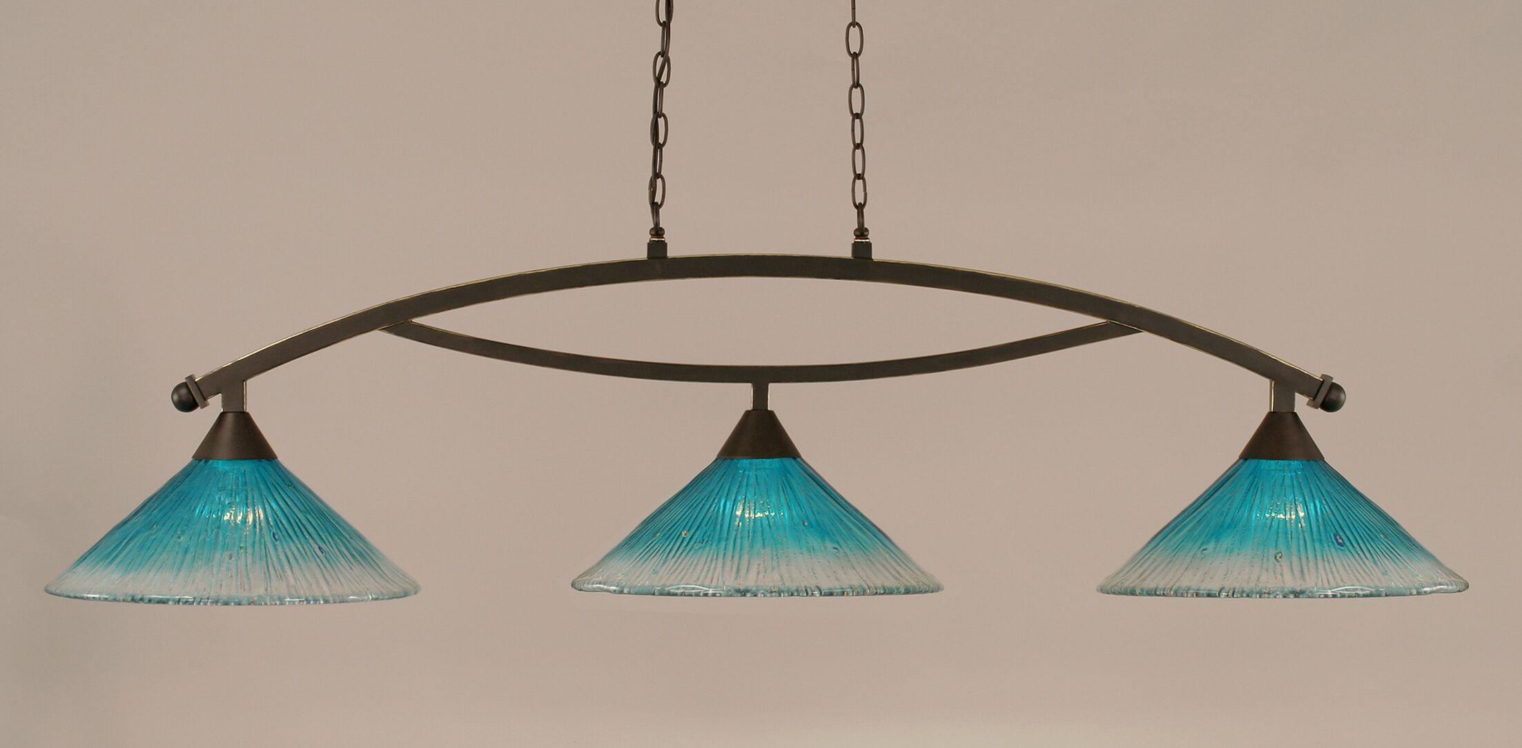 Blankenship 3-Light Billiard Light Shade Color: Teal, Finish: Dark Granite