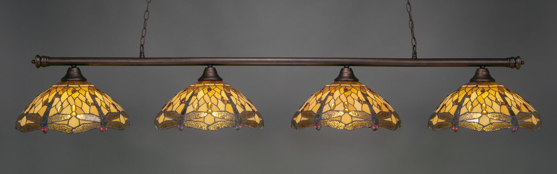 Mendez 4-Light Dragonfly Tiffany Shade Billiard Light Finish: Bronze