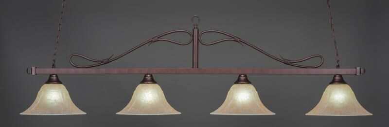 North Billiard 4-Light Wrought Iron Rope Bar Pendant with Amber Marble Glass Shade Finish: Bronze
