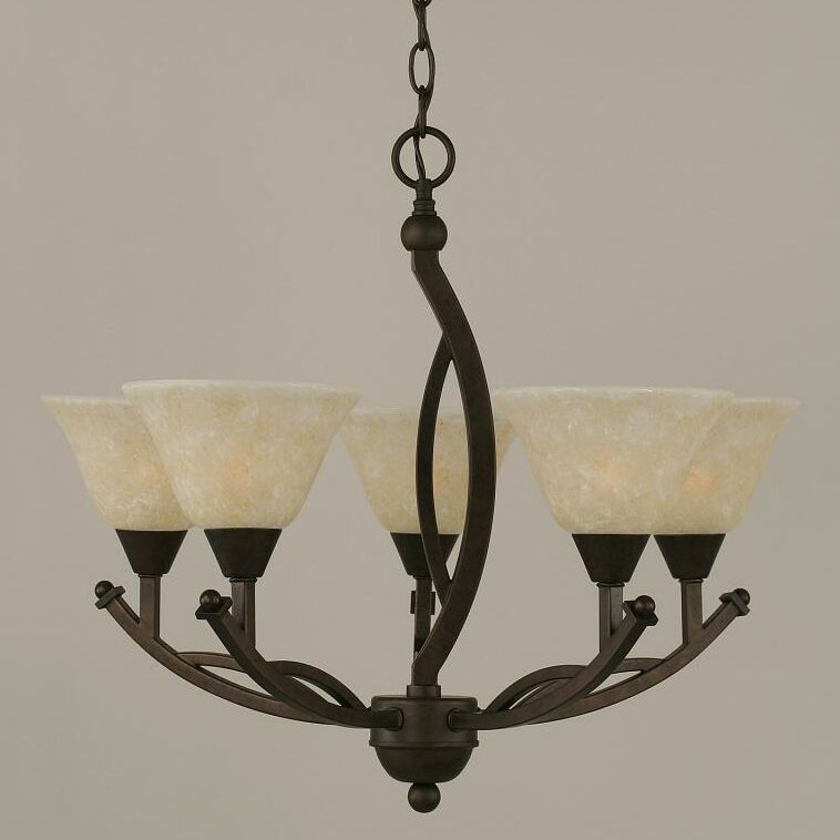 Eisenhauer 5-Light Shaded Chandelier Shade Color: Amber, Finish: Bronze
