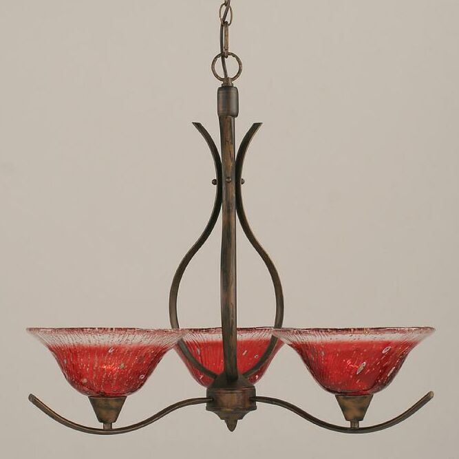 Demi 3-Light Shaded Chandelier Shade Color: Raspberry