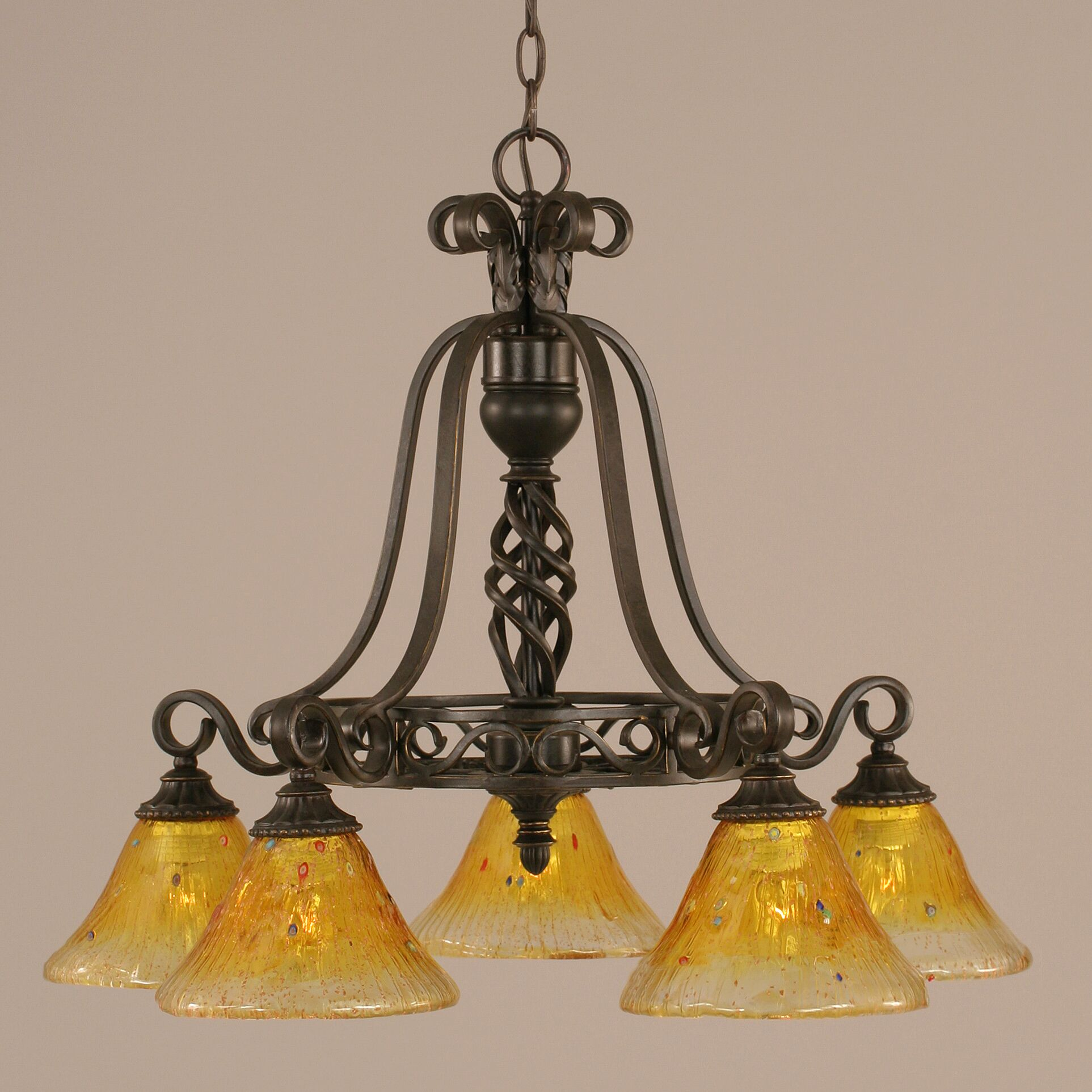 Pierro 5-Light Shaded Chandelier Shade: Gold Champagne Crystal Glass