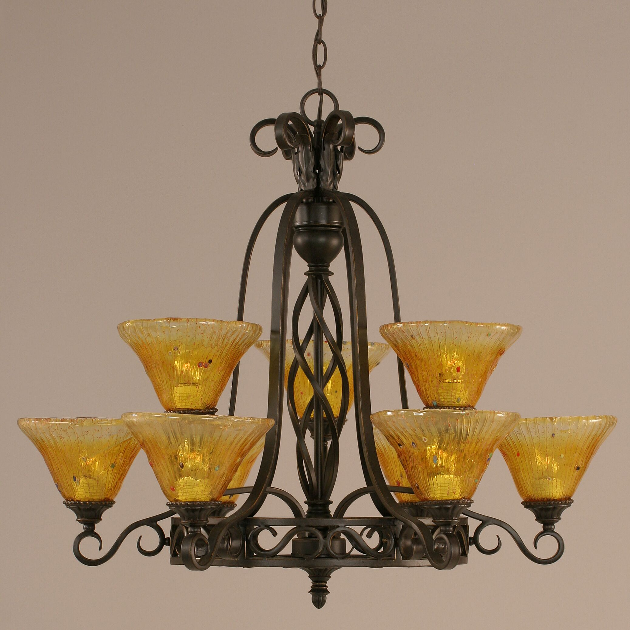 Pierro 9-Light Shaded Chandelier Shade: Gold Champagne Crystal Glass
