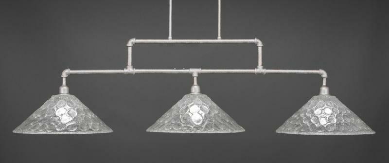 Kash 3-Light Italian bubble Glass Kitchen Island Pendant Base Finish: Aged Silver