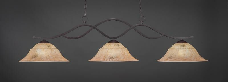Hiroko 3-Light Billiard Pendant Shade Color: Italian, Base Finish: Dark Granite