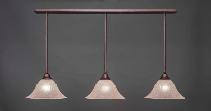 Banneker 3-Light Kitchen Island Pendant Shade Color: Italian, Base Finish: Bronze