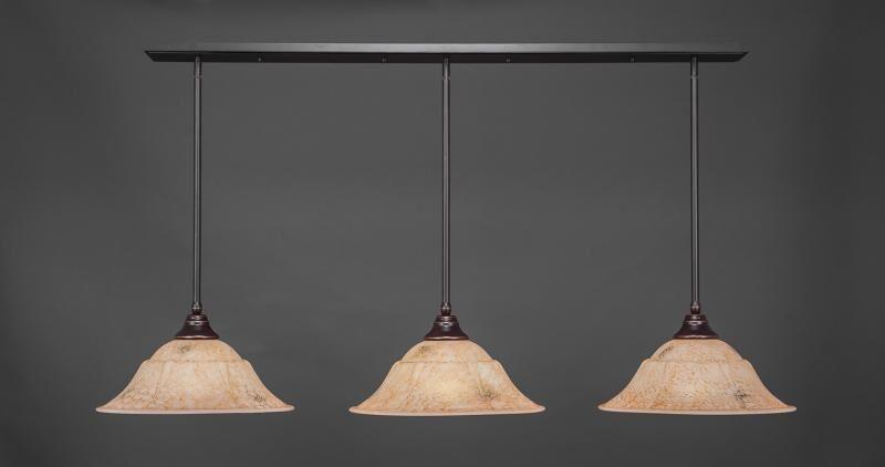 Chamberlin 3-Light Kitchen Island Pendant Shade Color: Italian, Base Finish: Dark Granite