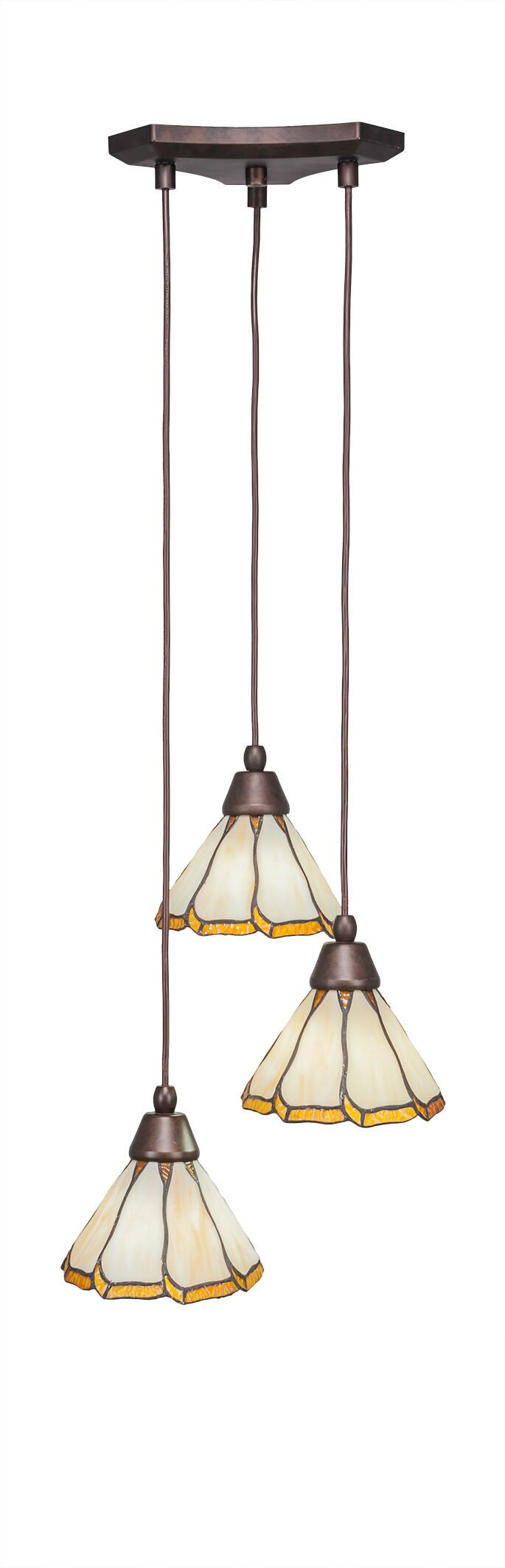 Nessa 3-Light Pendant Shade Color: Honey & Brown