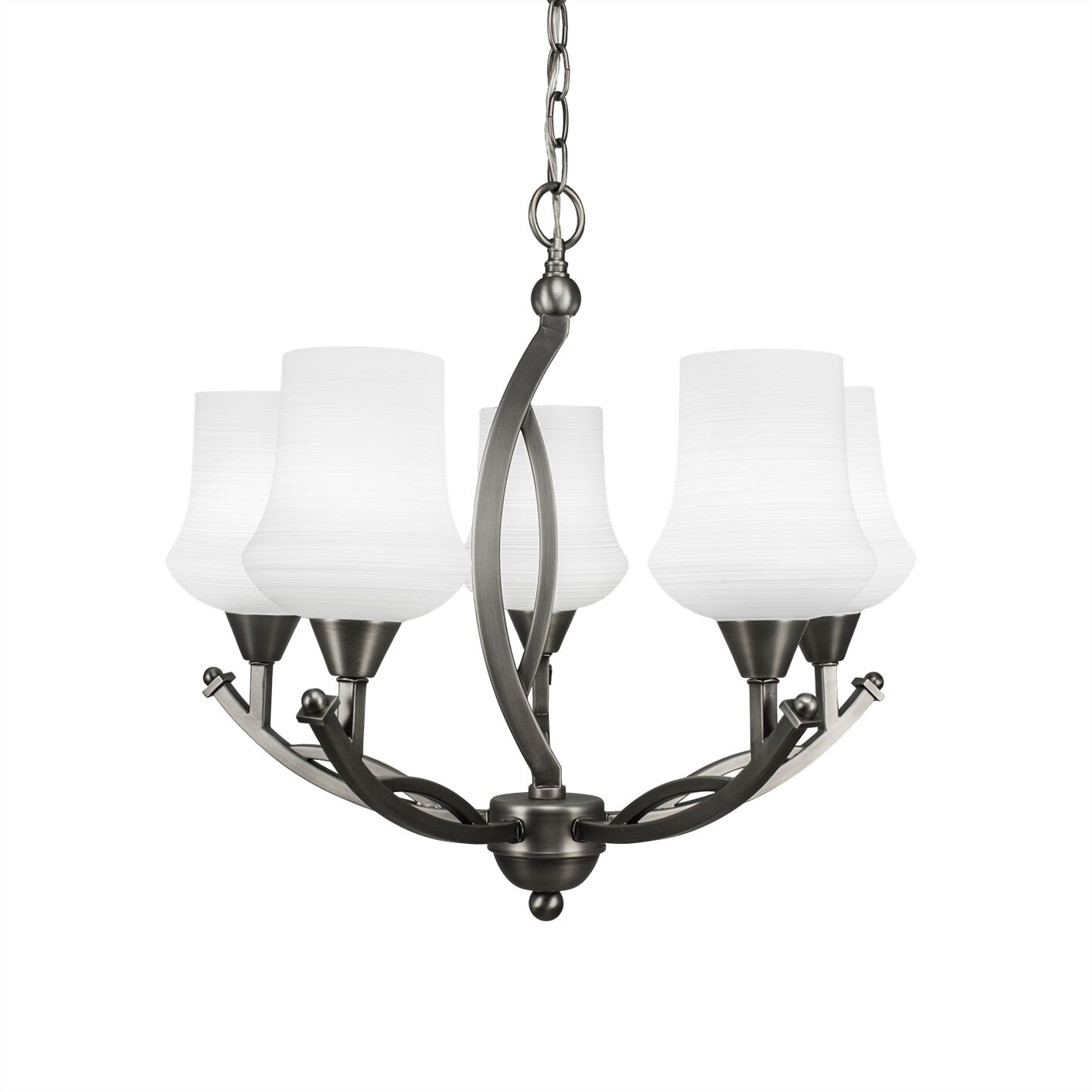 Eisenhauer 5-Light Shaded Chandelier Shade Color: White, Finish: Brushed Nickel