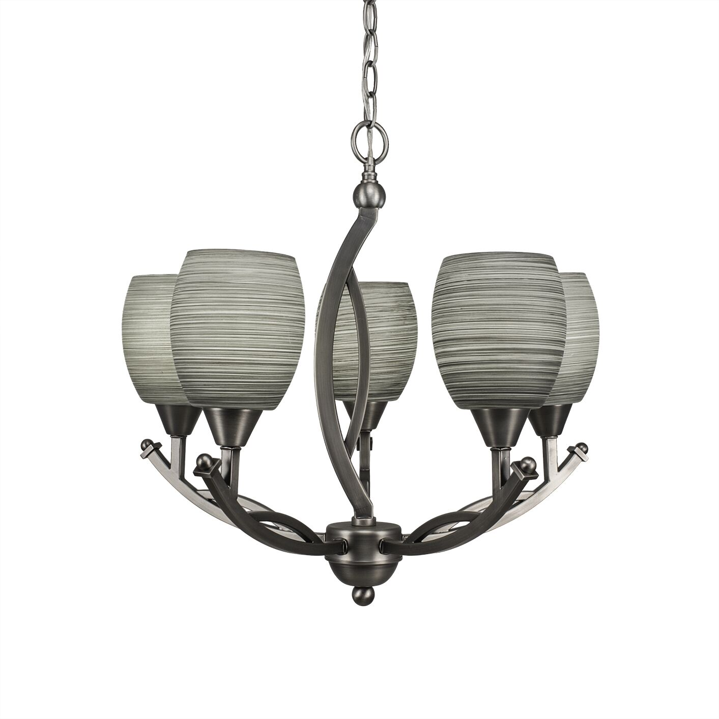 Eisenhauer 5-Light Shaded Chandelier Finish: Brushed Nickel