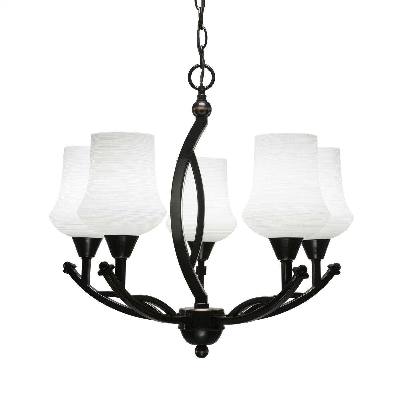 Eisenhauer 5-Light Shaded Chandelier Finish: Black Copper, Shade Color: Cayenne