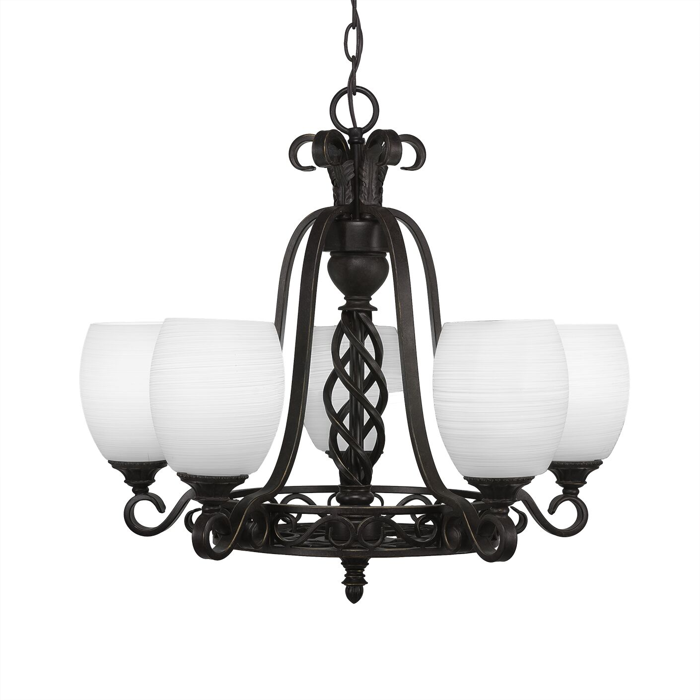 Pierro 5-Light Shaded Chandelier Shade Color: White