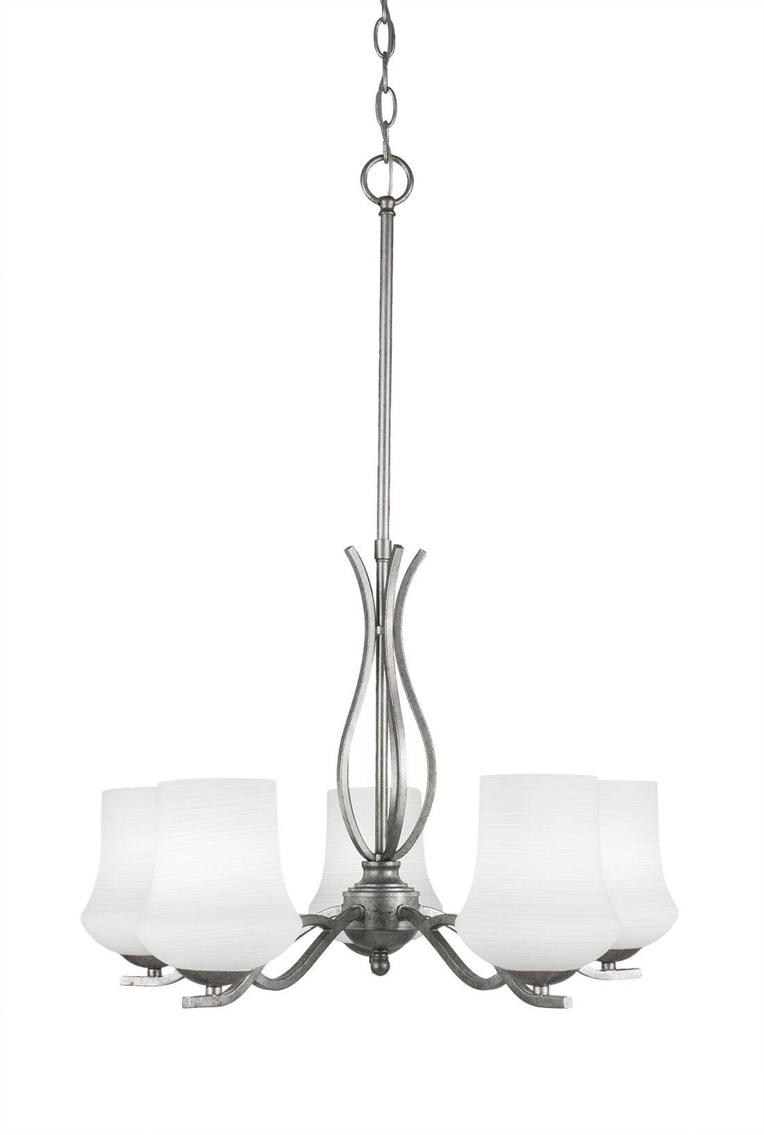 Hiroko 5-Light Shaded Chandelier Finish: Aged Silver