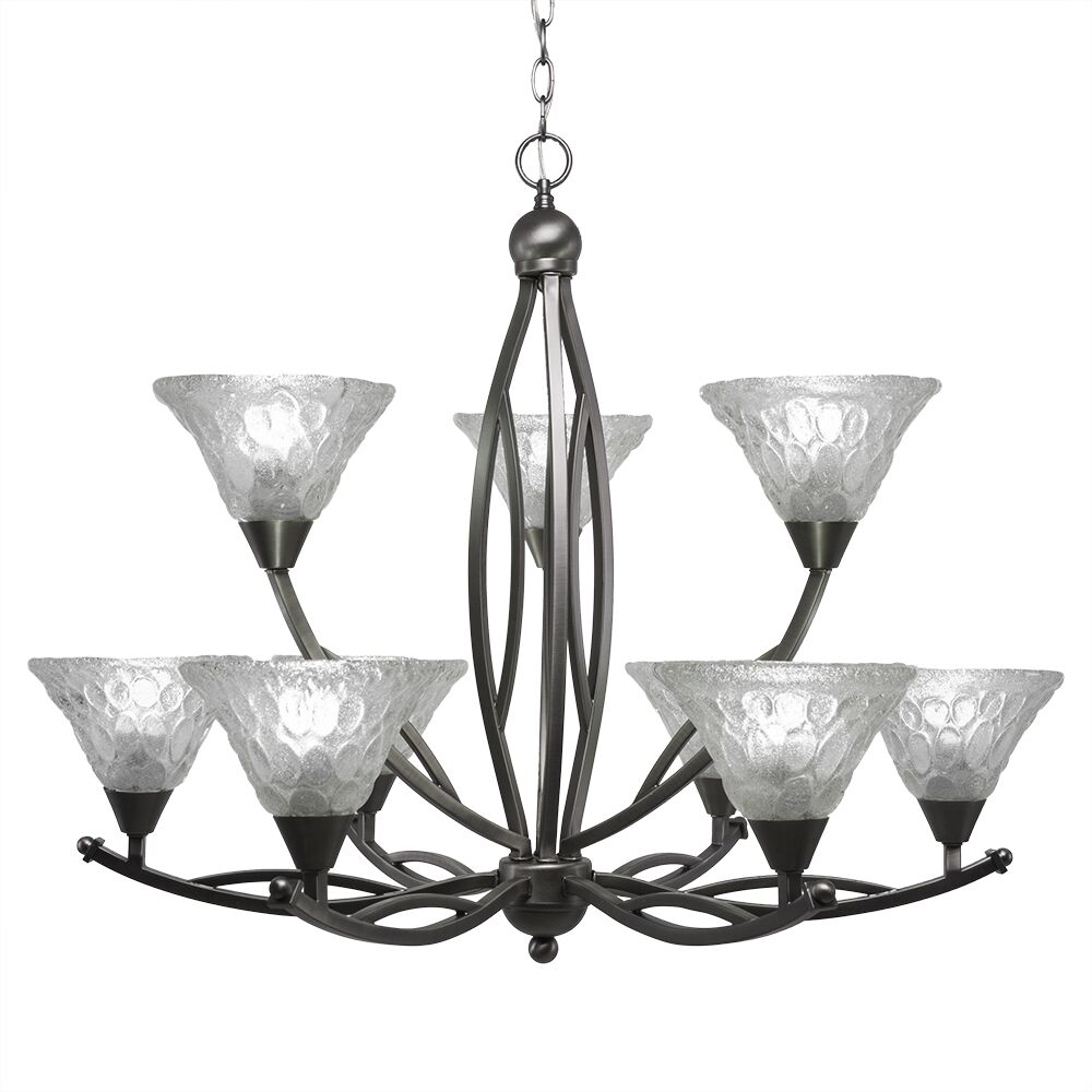 Eisenhauer 9-Light Shaded Chandelier Finish: Brushed Nickel