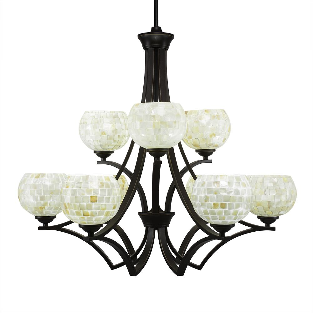 Cambridge 9-Light Shaded Chandelier Finish: Dark Granite, Shade Color: Mystic