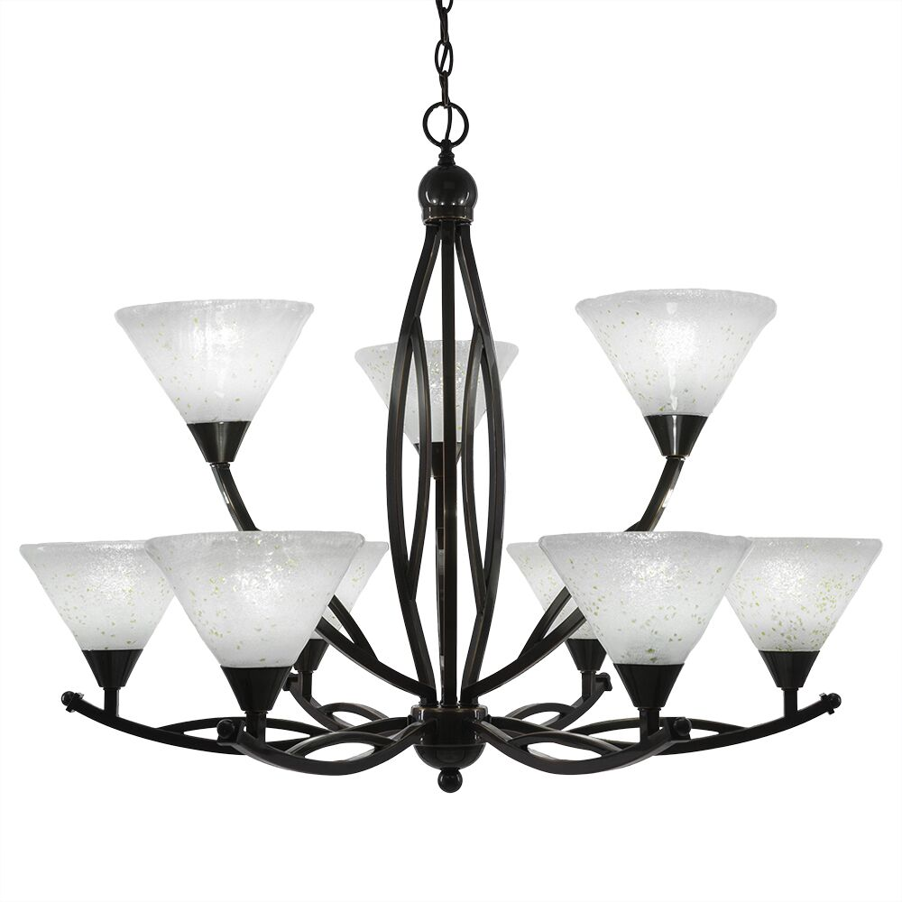 Eisenhauer 9-Light Shaded Chandelier Shade Color: Italian, Finish: Brushed Nickel