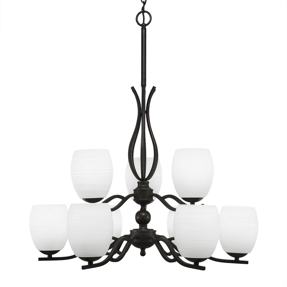 Hiroko 9-Light Shaded Chandelier Shade Color: White