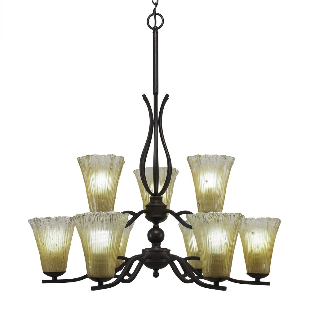 Hiroko 9-Light Shaded Chandelier Shade Color: Fluted Amber