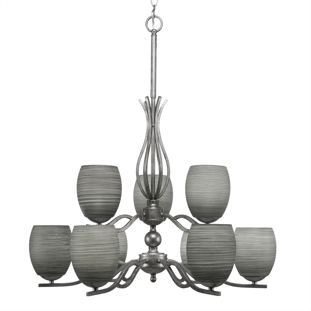 Hiroko 9-Light Shaded Chandelier Shade Color: Gray