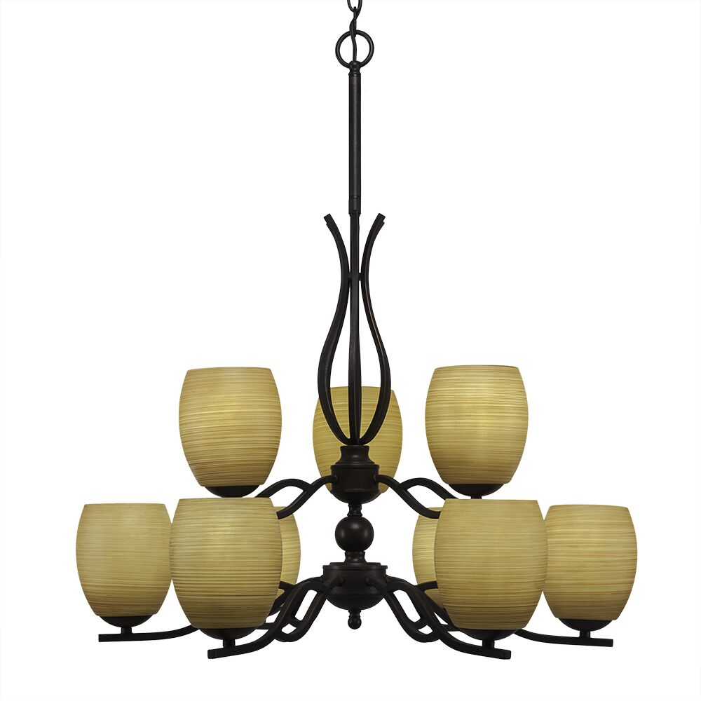 Hiroko 9-Light Shaded Chandelier Shade Color: Cayenne