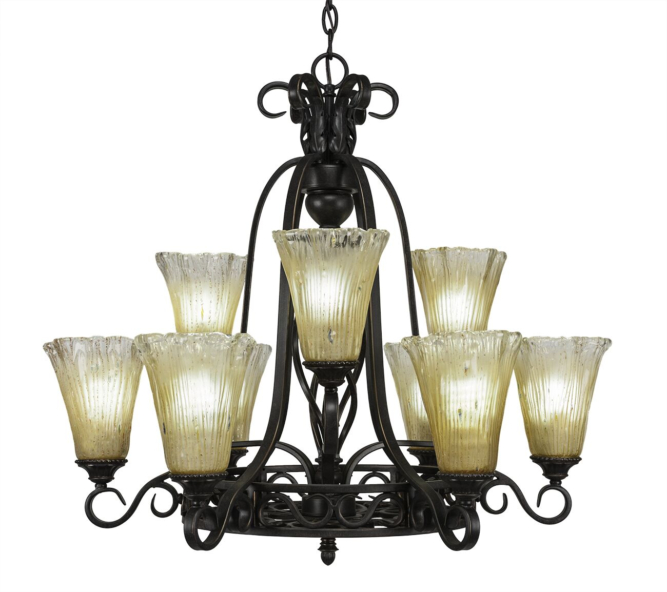 Pierro 9-Light Shaded Chandelier Shade Color: Amber