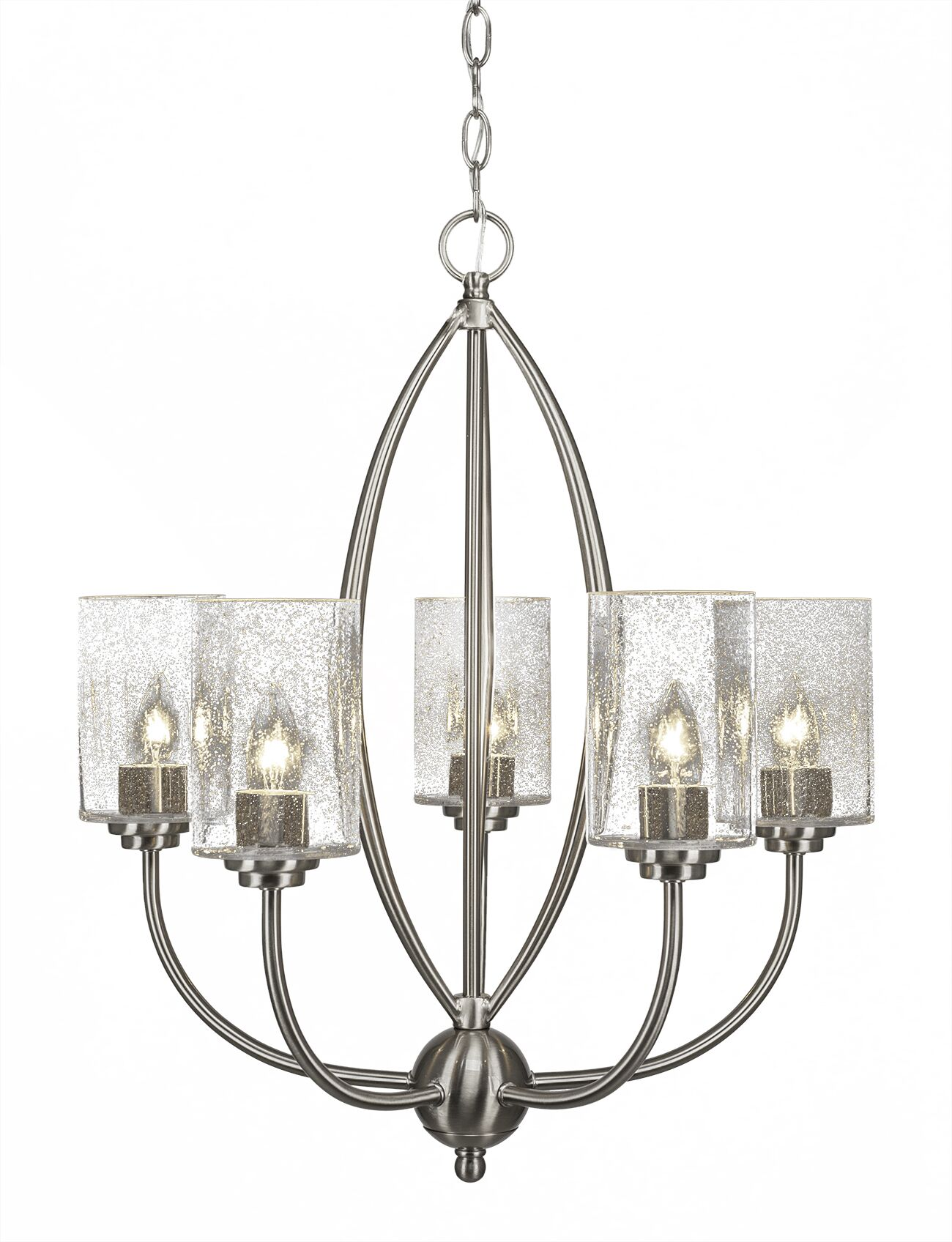 Albreda 5-Light Shaded Chandelier Finish: Brushed Nickel, Shade Color: Clear Bubble