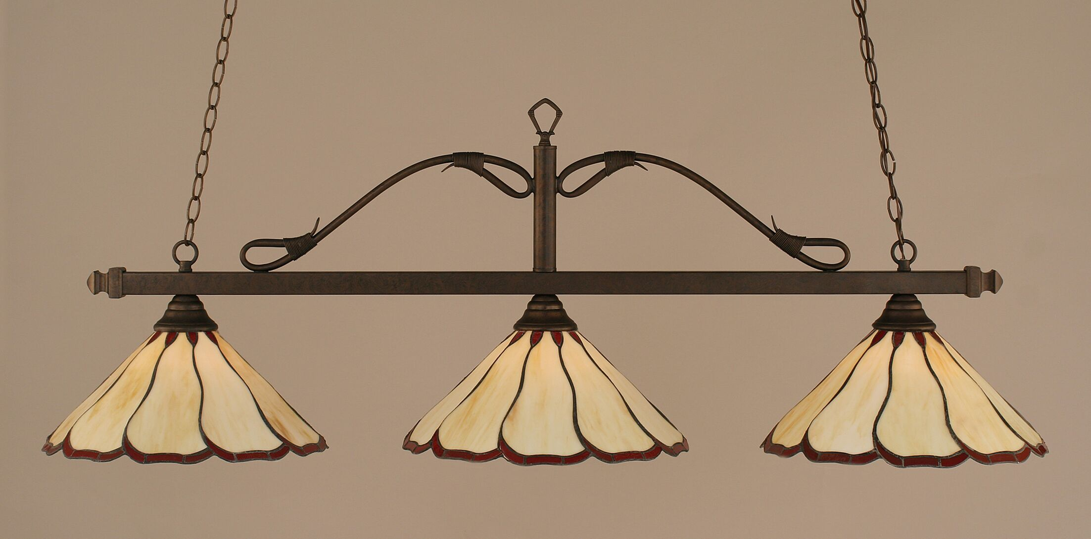 Reba 3-Light Billiard Light Color: Bronze, Shade: 16